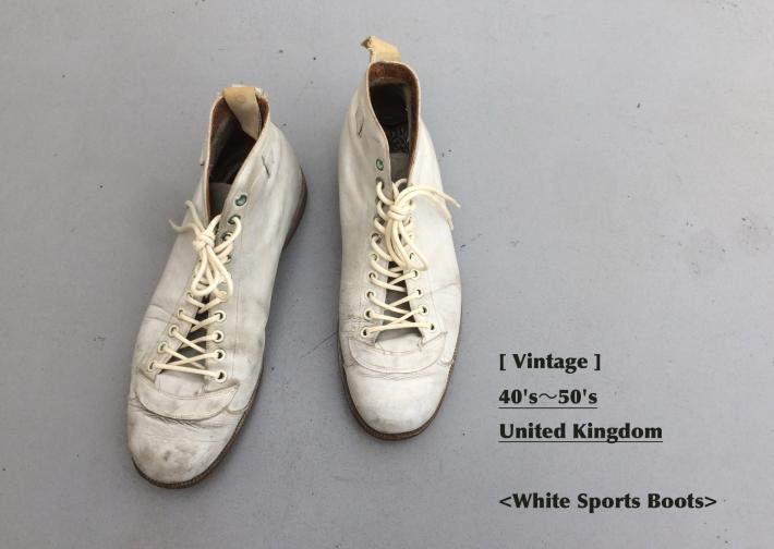 Vintage / 40's~50's United Kingdom / White Sports Boots