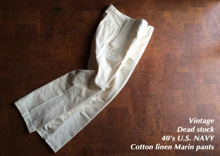 Vintage / Dead stock / 40's U.S. NAVY / Cotton linen pants