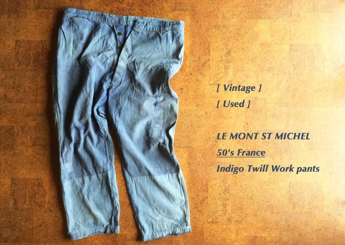 Vintage/ Used/ 50's France/ Indigo Twill Workpants