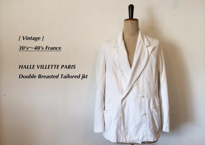 Vintage / 30's~40's France / HALLE VILLETTE PARIS / Double Breasted Tailored jkt